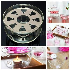 1Pc Heat-Resisting Clear Glass Round Shape Teapot Warmer Insulation Base Holder