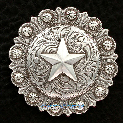 """WESTERN HEADSTALL SADDLE ANTIQUE SILVER STAR BERRY CONCHO 3"""" screw back"""