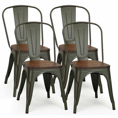 (Set of 4 Tolix Style Metal Dining Side Chair Wood Seat Stackable Bistro Cafe New)