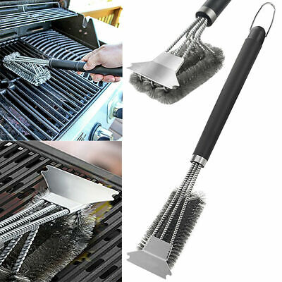 BBQ Grill Cleaning Brush Stainless Steel Wire Bristle Barbecue Scraper Cleaner