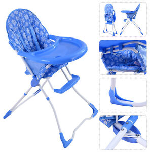 Baby High Chair Infant Toddler Feeding Booster Seat Folding Safety Portable Blue
