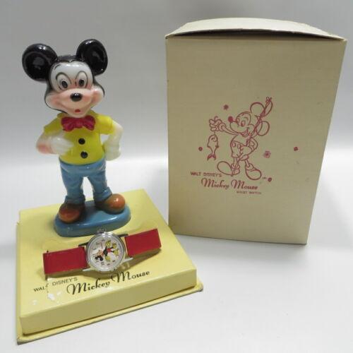 Vtg Ingersoll Mickey Mouse Disney Wrist Watch with Figurine & Box