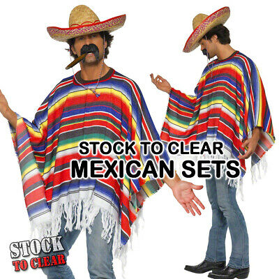 Mexican Bandit Fancy Dress Costume Poncho Sombrero cigar and mustache - Poncho And Sombrero
