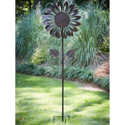 Kinetic Sunflower Wind Spinner Catcher Mill Garden Feature Sculpture