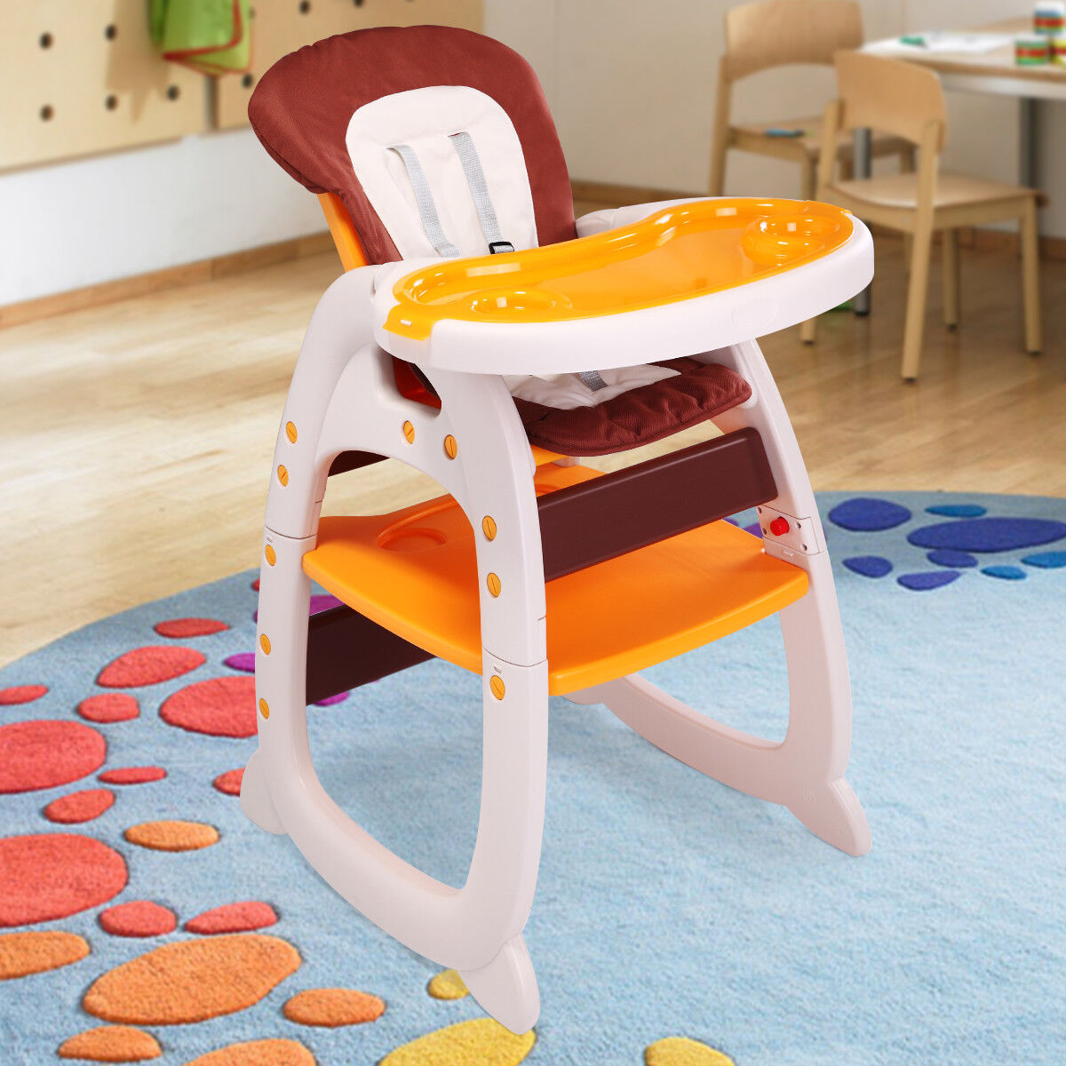 Details about 3 in 1 Baby High Chair Convertible Toddler Play Seat Booster&Feeding Table Tray