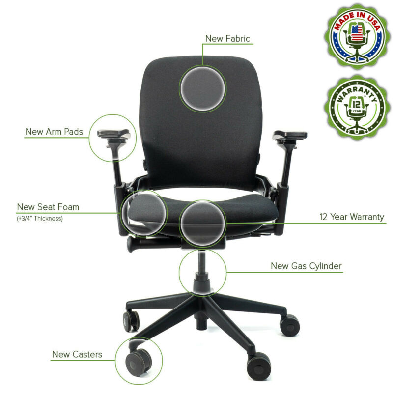 Steelcase Leap V2 Chair  - Remanufactured - 12 Yr Warranty - Black Fabric