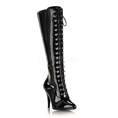 Knee High Boot Fetish (Black Latex Fetish Lace Up Knee High Boots Mens Drag Queen Woman size 13 14)
