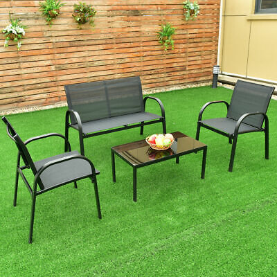 4 PCS Patio Table Steel Frame Garden Furniture Set Sofa Coffee Deck Black New