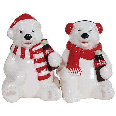 Coca Cola Holiday Polar Bears Ceramic Salt & Pepper Shakers- Westland