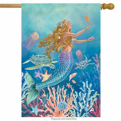 "Mermaid Summer House Flag Nautical Fish 28"" x 40"" Briarwood"