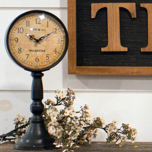 """Finn & Co Pedestal Table Clock, Rustic Brown, 13"""" tall, Ragon House, NIB"""