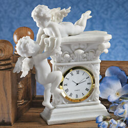 Baroque Baby Cherubs Roman Numeral Bonded Marble Putti Desk Table Study Clock