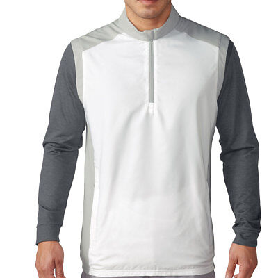 Adidas Club Golf Vest Men's 1/4 Zip Wind Pull Over White w/ Grey S M MSRP $65.00 (Adidas Golf Vest)