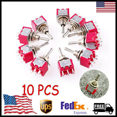 10 X Dpdt On-off-on Momentary Mini Toggle Switch Ac 250v2a 120v5a Mts-203