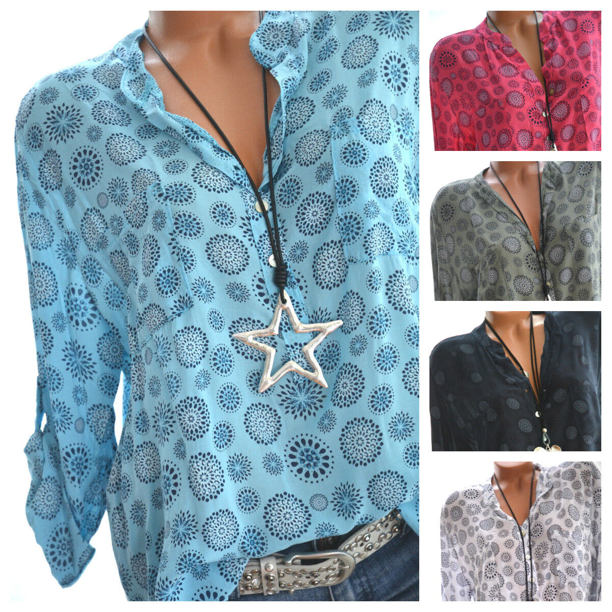 Made in Italy  Langarm Bluse Damen Tunika Top Hemd Shirt Mandala Fischerhemd