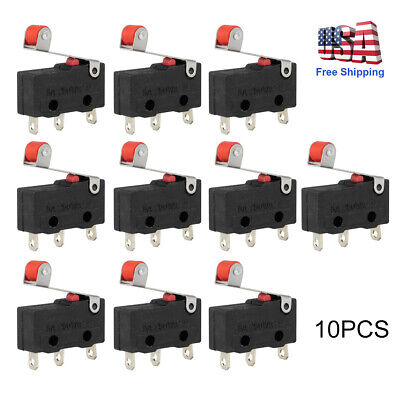 10pcs Durable Micro Roller Lever Arm Open Close Limit Switch Kw12-3 Microswitch