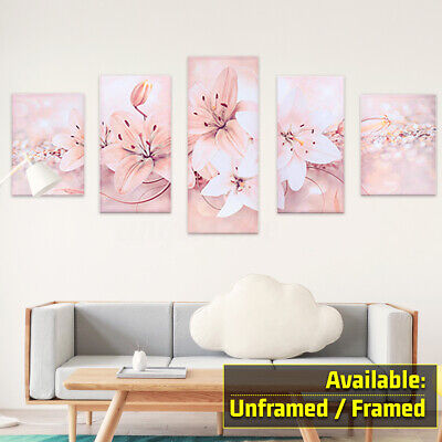 5Pcs Abstract Modern Flower Canvas Print Art Painting Wall Picture Home Decor