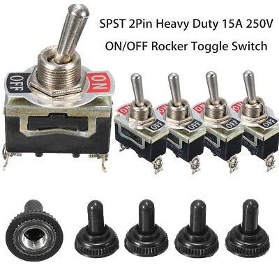 5 X Spst Toggle Switch 2pin Onoff Rocker Heavy Duty 20a 125v Waterproof Boot Us