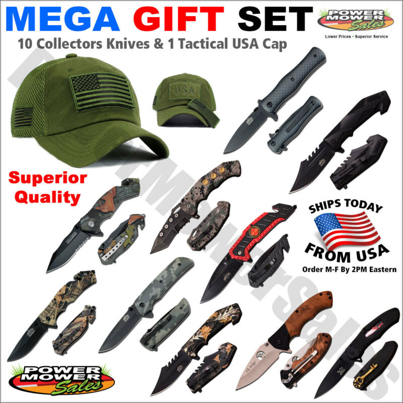 Gift for men - 10 Piece Collectors Knife & Tactical USA Flag Military Cap Set
