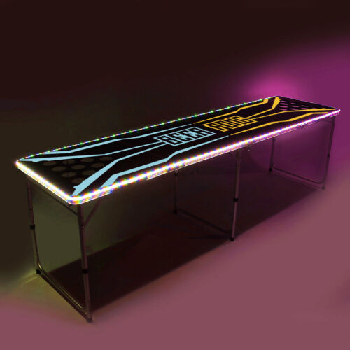 8-Foot Beer Pong Table w/Cup Holes, LED Lights