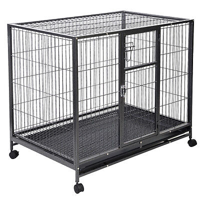 Heavy Duty Black 42'' Dog Crate Cage Kennel Metal Wire Pet Playpen w/ Tray New