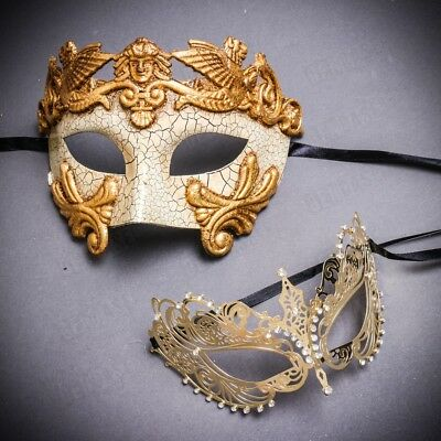 His and Her Gold Couple Masquerade Party Mask Pair For Prom Halloween Costume - Couple Costumes For Halloween