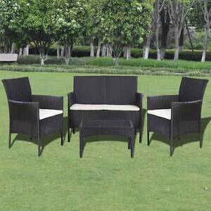 New Items-Seven Piece Garden Lounge Set Poly Rattan Black (41835) Mount Kuring-gai Hornsby Area Preview