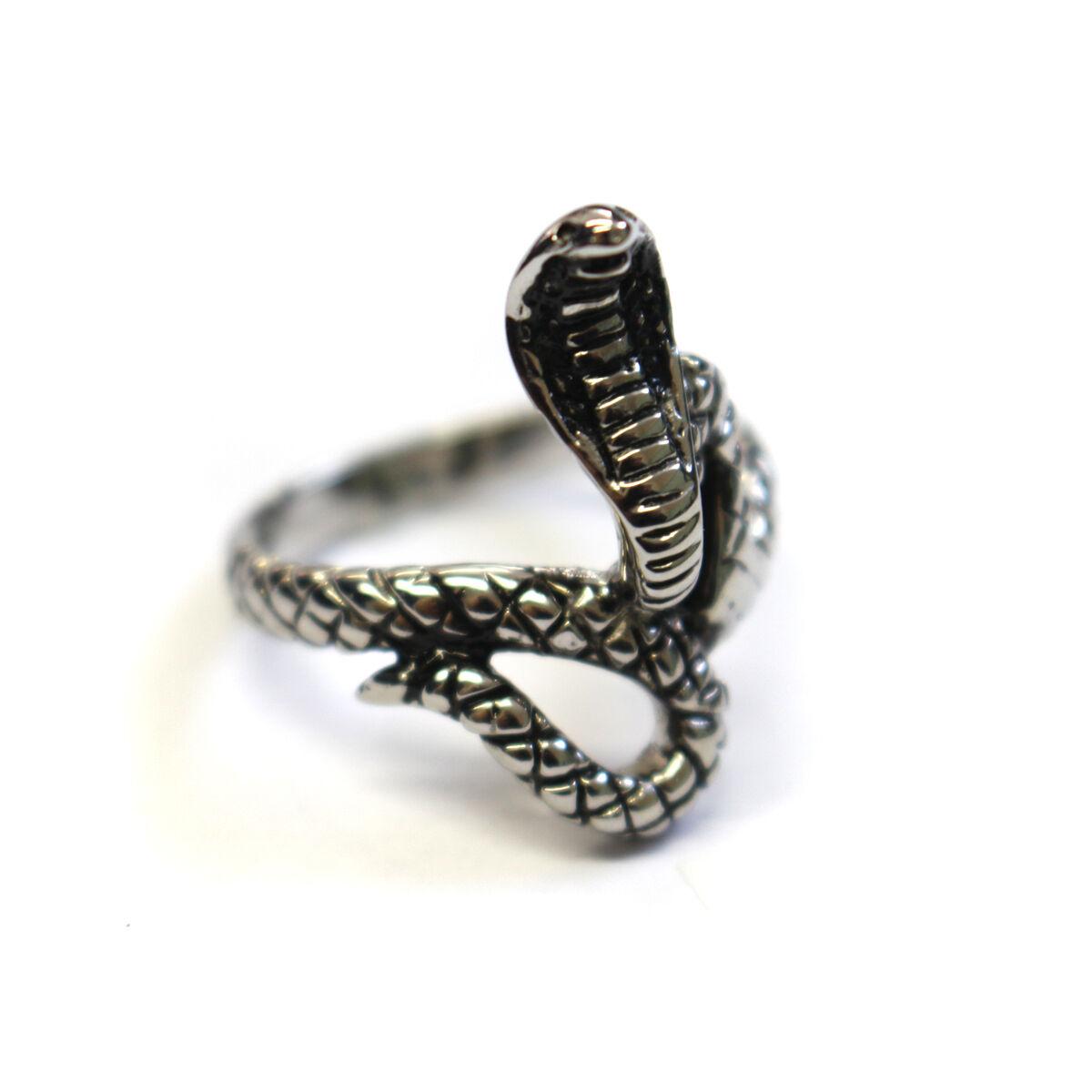 Men Women Fashion 30MM Stainless Steel Antique Gothic Snake On Skull Ring