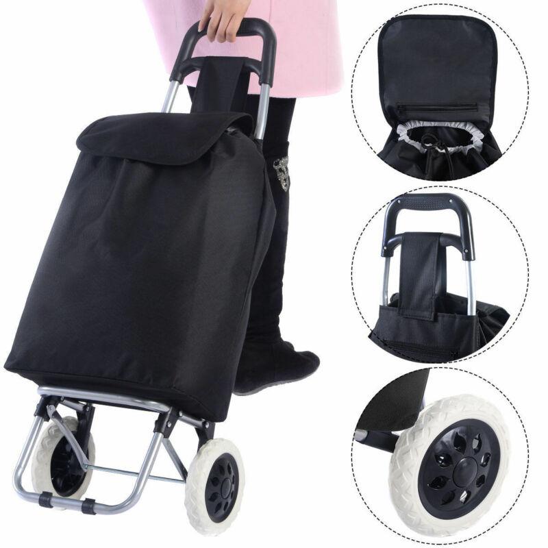 New Black Large Capacity Light Weight Wheeled Shopping Trolley Push Cart Bag