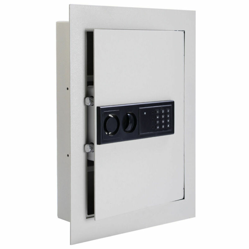0.8CF Digital Flat Recessed Wall Safe Home Security Lock Gun Cash Box Office