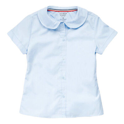 Girls Light Blue Blouse Peter Pan Collar Short Sleeve French Toast Sizes 4 to (Girls Peter Pan Collar Blouse)