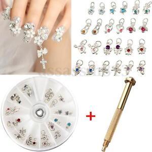 Nail Art Charm Piercing Hand Drill Hole Pierce Tool + 24 Pendants Dangle Decor
