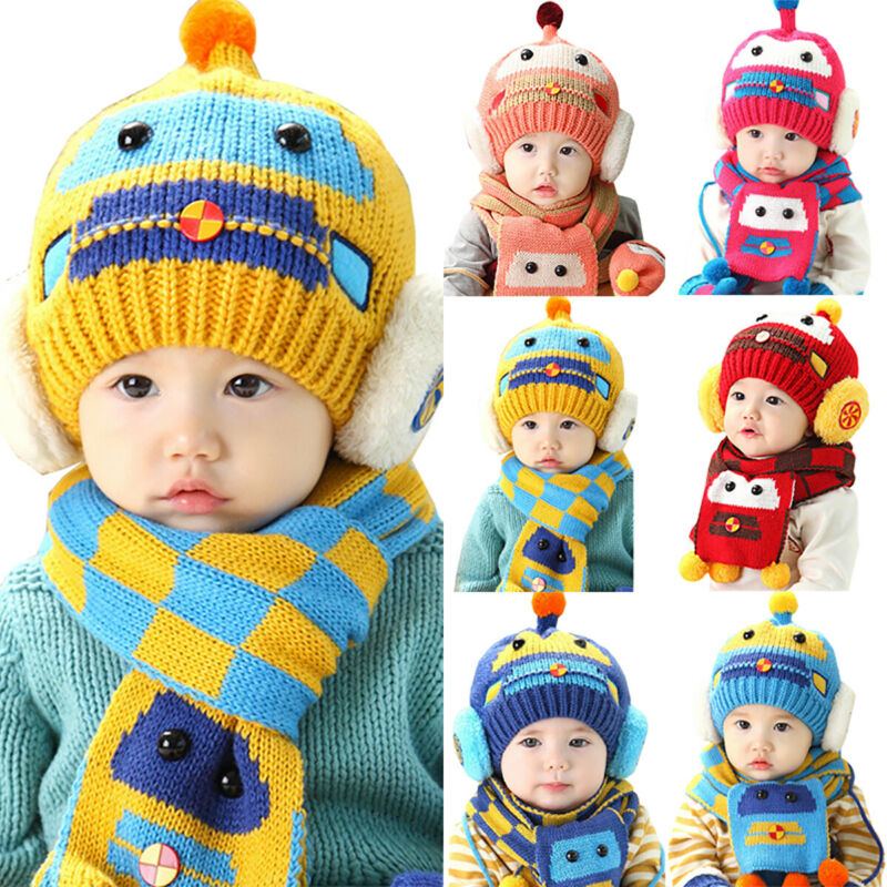 Knitted Baby Beanie Hat Scarf Set for Girl Boy Winter Warm C