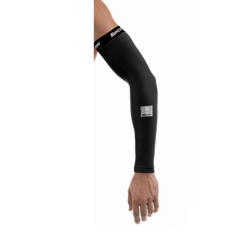 Cycling Arm Warmers Santini Totem Black Medium/Large Thermal Elbow Protection