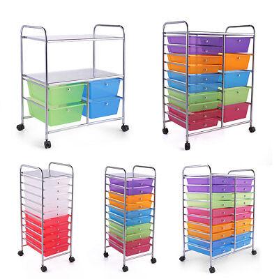 Rolling Storage Multilayer Drawer Metal Rack Shelf Office Salon Organizer Cart