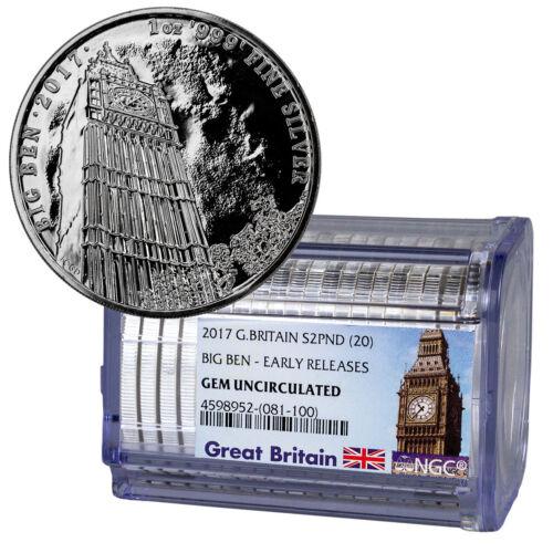 Certified Roll of 20 - 2017 Britain Big Ben 1 oz Silver NGC GEM UNC ER SKU49441