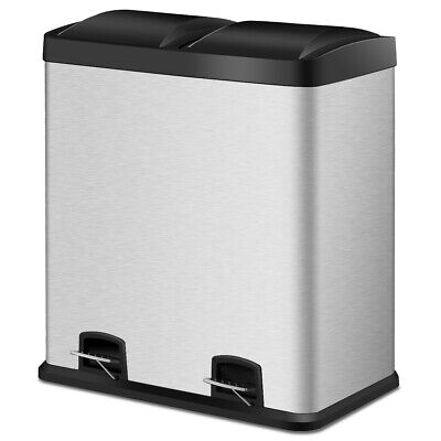 Recycling Pedal Bins - 16 Gallon Dual Step Trash Can Stainless Steel Double Bucket Recycling Pedal Bin