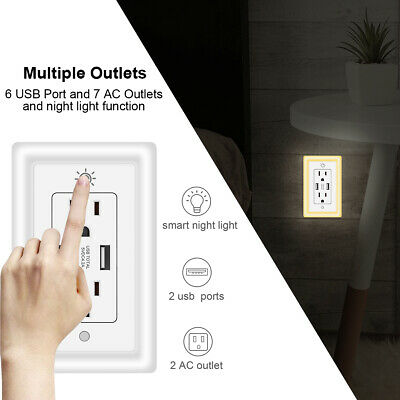 Resistant Duplex Outlet Grounding Receptacle LED Night Light with Smart Sensor Duplex Ac Outlet