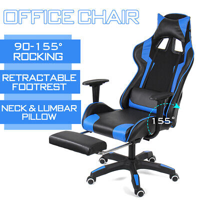 Ergonomic Office Computer Chair High Back Footrest Swivel Racing PC Gaming Chair