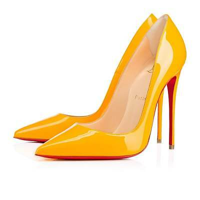 100% AUTH NEW WOMEN LOUBOUTIN PIGALLE FOLLIES 100 PATENT FULL MOON HEELS US 6.5