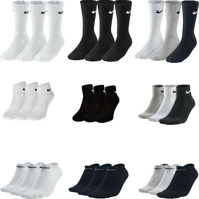 Nike 3ppk Pair Cotton Socks Crew Ankle Sports  Mens Womens Unisex  S M L XL