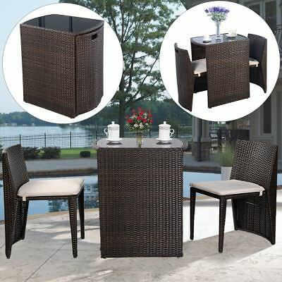 Garden Furniture - 3 PCS Cushioned Outdoor Wicker Patio Set Garden Lawn Sofa Furniture Seat Brown
