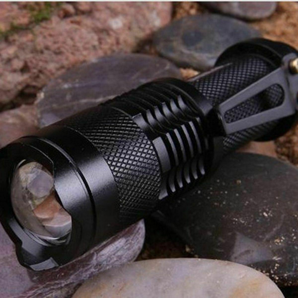 6PCS Mini CREE Q5 LED Flashlight Torch 1200LM Adjustable Focus Zoom Light Lamp Camping & Hiking