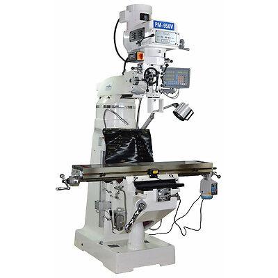Pm-950v Vertical Knee Mill Milling Machine 3 Ax Dro X Pwr 1ph Free Shipping