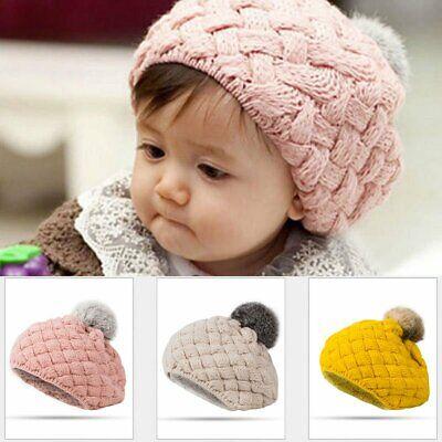 Toddler Kids Girl&Boy Baby Infant Winter Warm Crochet Knit Hat Ball Beanie Cap - Infant Ball Caps