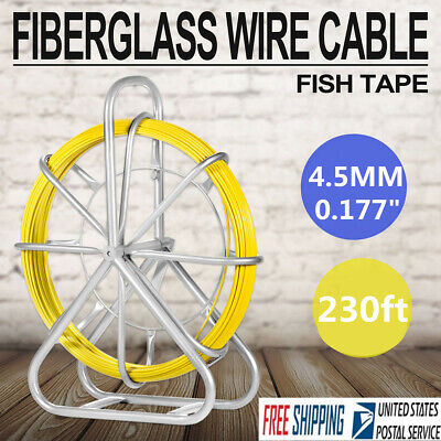 70m230ft Fish Tape 4.5mm Fiberglass Wire Cable Running Rod Duct Rodder Puller