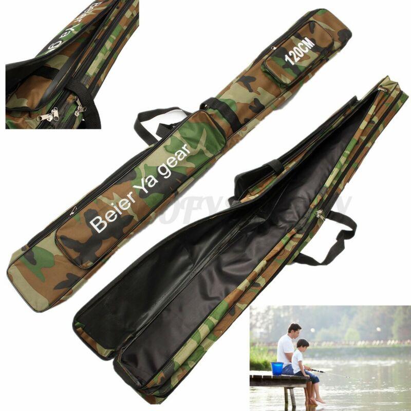 "2 Layer Large Fishing Rod Bag 47"" Foldable Fish Case Pole Storage Tackle Bag US"
