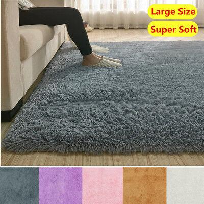 Fluffy Rugs Anti-Skid Shaggy Area Rug Dining Room Home Bedroom Carpet Floor Mat Field Floor Mat