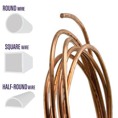 Copper Wire, Round, Half Round, Square, 10 12 14 16 18 20 21 22 24 26 28 Gauge