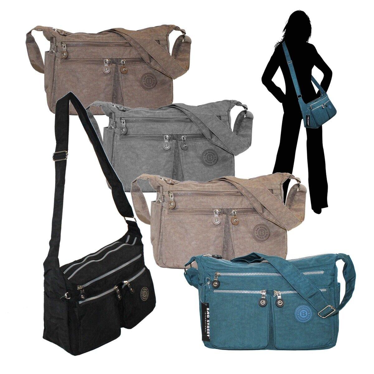 8de1a2702e4bc Bag Street Nylon Umhängetasche Damen Handtasche viele Fächer leicht  Farbwahl ...